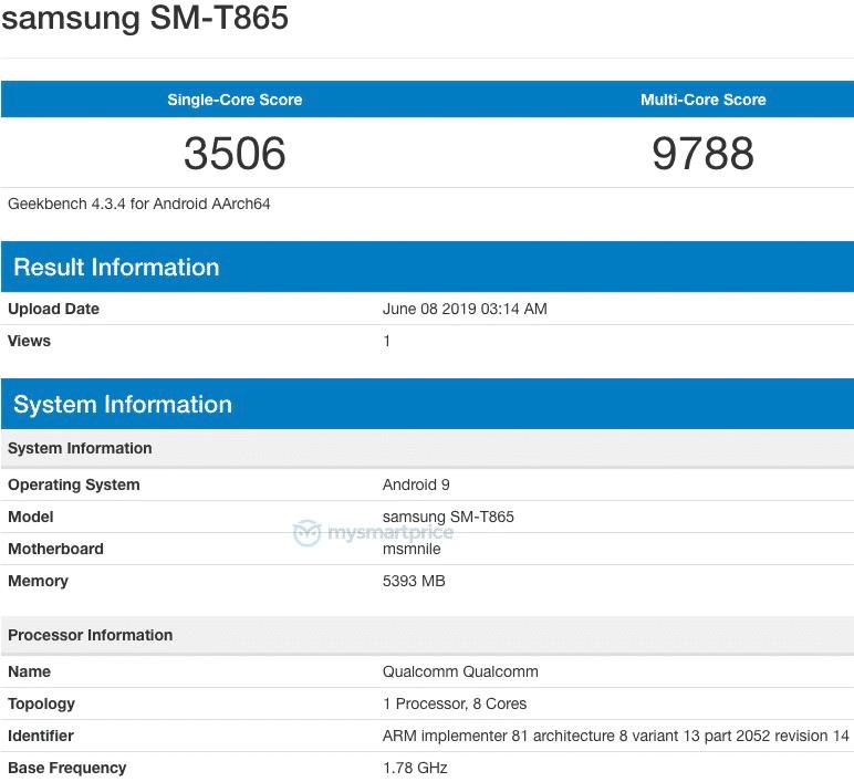 Samsung SM T865 on Geekbench 1
