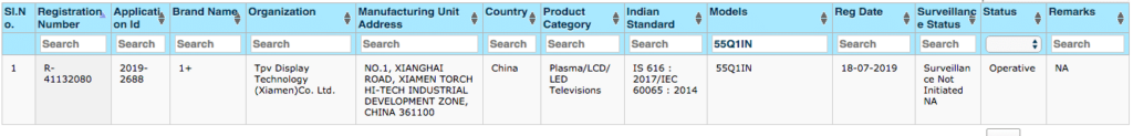 OnePlus TV BIS Certification 1 1