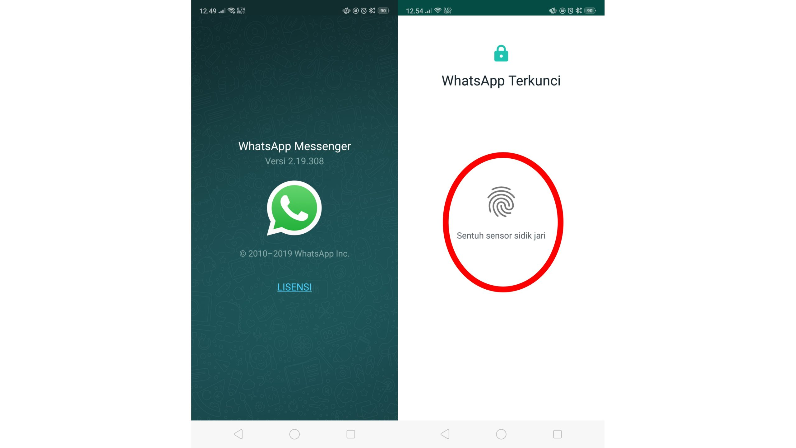Otentikasi Sidik Jari WhatsApp