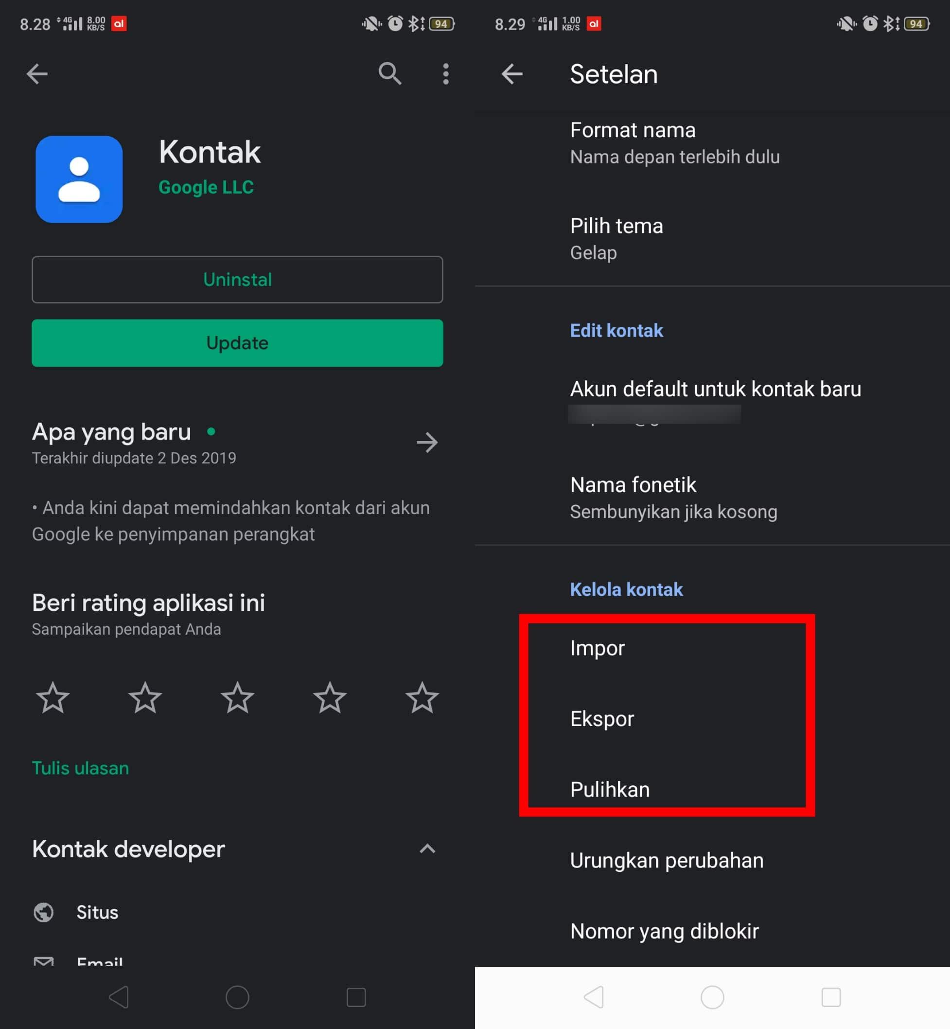 kontak google
